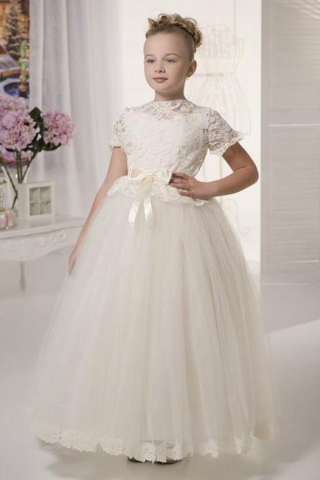 2018 New pretty whiteivory lace flower girls dresses with sleeves kids puffy prom dress tulle ball gown little bride dress