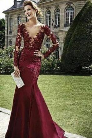 Charming Sexy Mermaid Prom Dresses V-Neck Appliques Long Sleeve Lace Evening Dresses Floor Lengtn Party Dresses Satin Fabric High Quality Custom Made Formal Dresses Wine Red Prom Dress