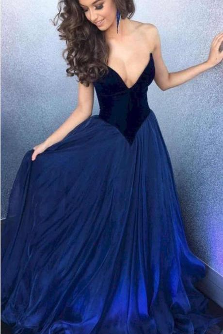Graceful Prom Dresses A-Line Sweetheart Off the Shoulder Evening Dresses Floor Length Party Dresses Custom Made Prom Dresses Tulle Fabric 2018 New Design Blue Color Evening Dresses