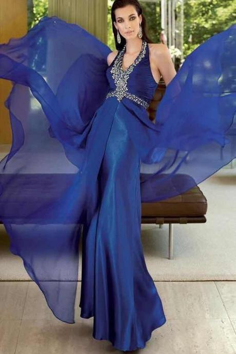 Charming Sexy Navy Blue Prom Dresses A-Line Halter Crystal Evening Dresses Floor Length Sleeveless Party Dresses Chiffon Formal Dresses High Quality Custom Made Prom Dresses 2018 New Arrival