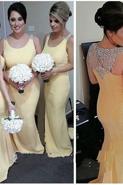 2016 New Design Graceful Long Bridesmaid Dress Mermaid Scoop Crystal Beading Pleat vestido longo Plus Size Long Party Dress