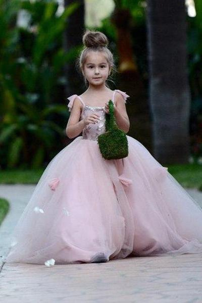Blush Pink Flower Girls Dresses Appliques Ball Gown Tulle Pageant Dresses for Girls Long Girl Dresses for Wedding first communion dresses for girls 2016