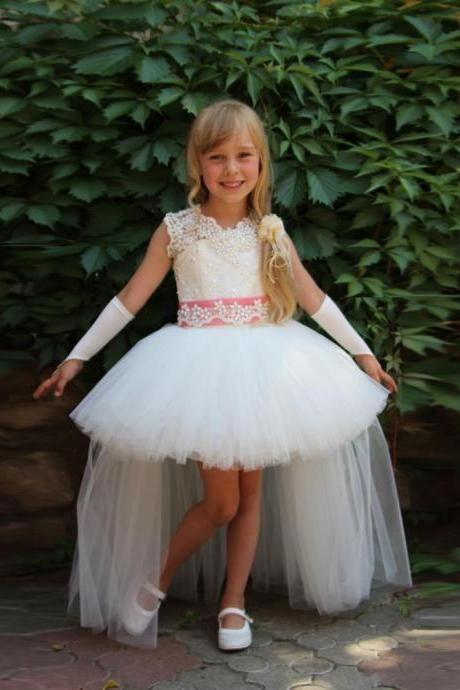 2016 New Fashion First Communion Dresses for girl Ball Gown Scoop Appliques Birthday Girl Dress Beauty Pageant Dress Custom Made