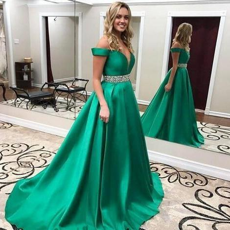 Ball Gown Floor length Prom Dresses 2018 Sexy Green Off Shoulder Satin Red Carpet Long Formal Pageant Ball Gowns Beaded Waist Party Evening Gowns