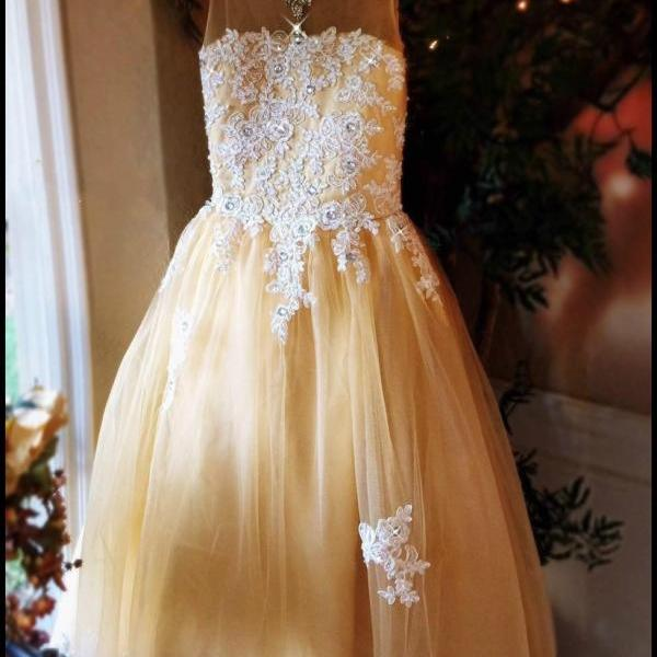 Beautiful Gold Flower Girls' Dresses Baby Gilrs Princess A Line Birthday Holy Communication Gowns