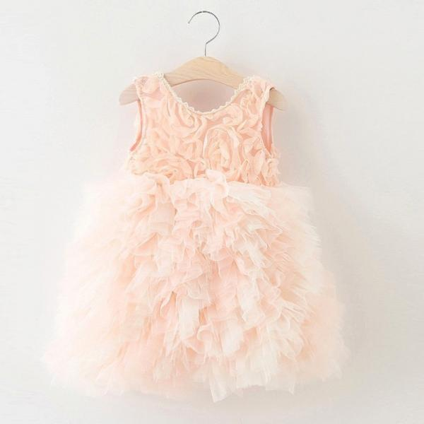 Princess A-line Pink Flower Girl Dress with V Back