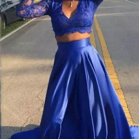 2018 Royal Blue Lace Two Pieces Prom Dress Long Sleeves Satin South African A-line V-neck Long Graduation Arabic Formal Evening Party Gowns