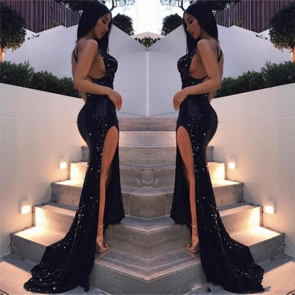 Bling Bling Sexy Black Girls Mermaid Prom Dresses 2018 Long Sequined Dresses Floor Length High Side Split Backless Formal Evening Party Gown