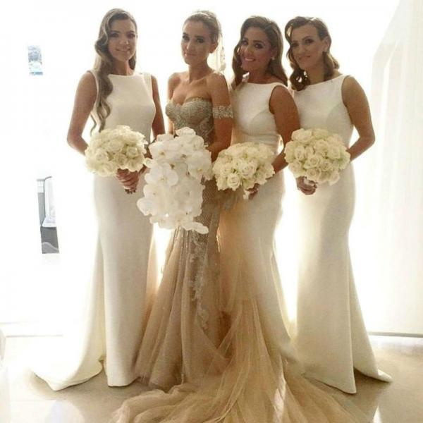 Mermaid Scoop Sleeveless Long Bridesmaid Dresses 2016 New Arrival prom dresses Cheap Custom-made vestidos de madrinha