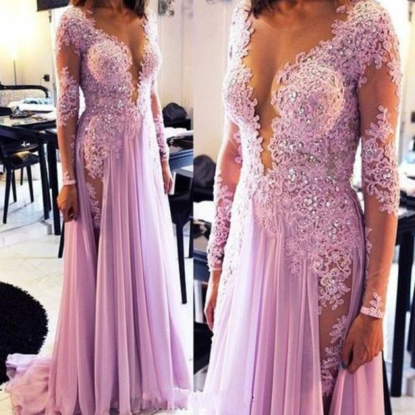 New Fashion Prom Dress A-Line Scoop Prom dress Custom-made Lace Long Evening Dress Sexy Plus Size Long Sleeve prom dresses 2016
