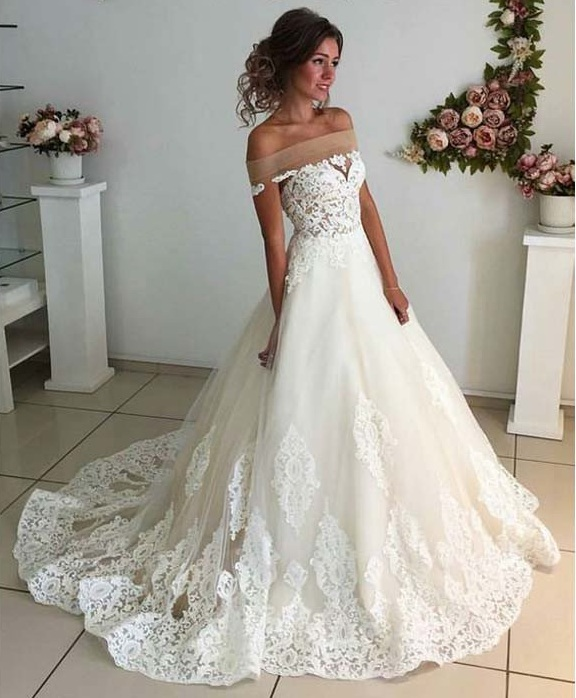 Off The Shoulder Lace Appliqus A Line Wedding Dress On Luulla